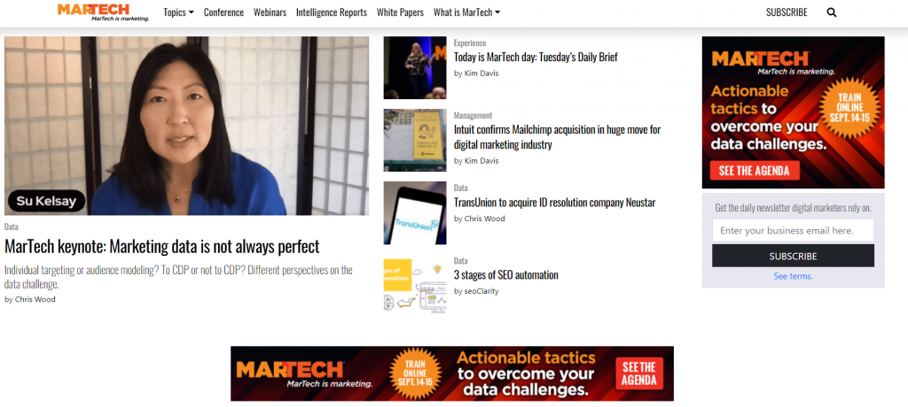 martech homepage screenshot