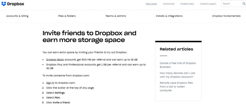 Dropbox referral marketing example
