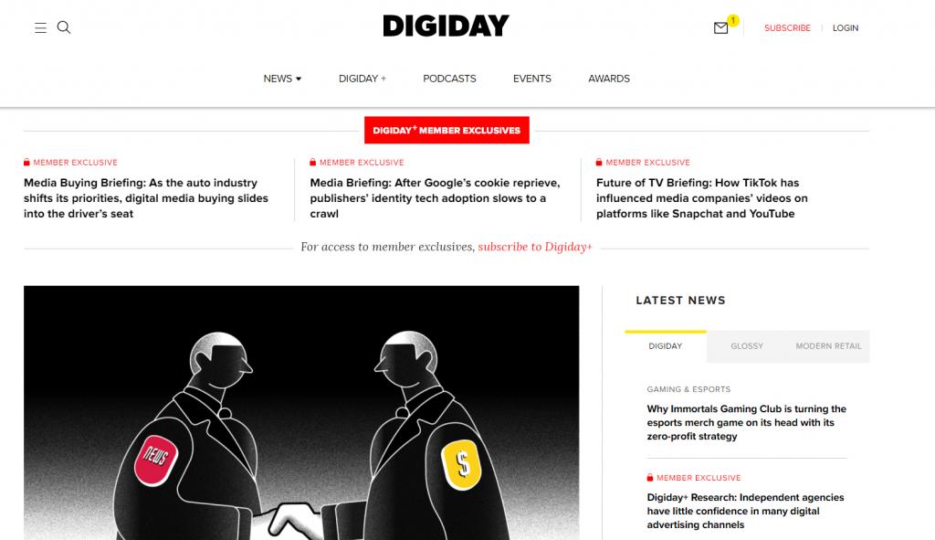 Digday homepage screenshot