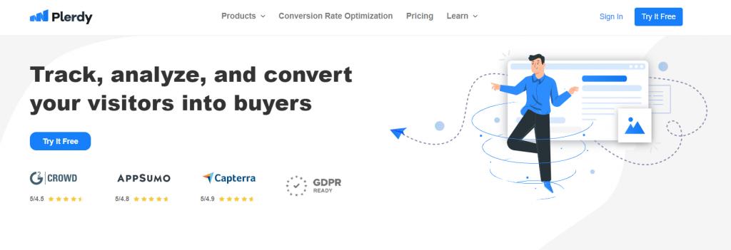 Plerdy homepage screenshot