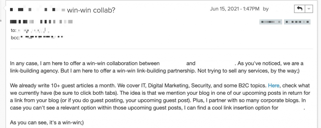 personalized cold email example
