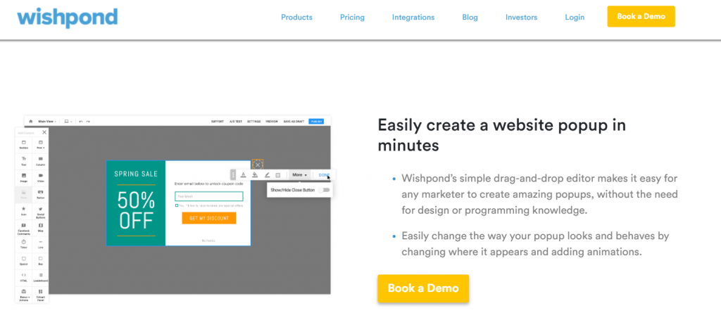 Wishpond product demo example