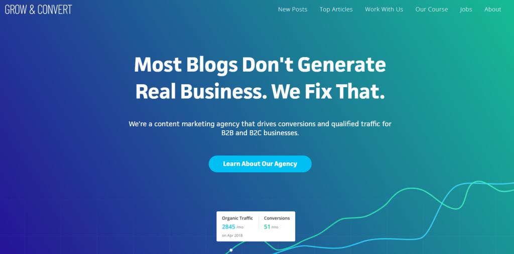 Grow and convert homepage screenshot