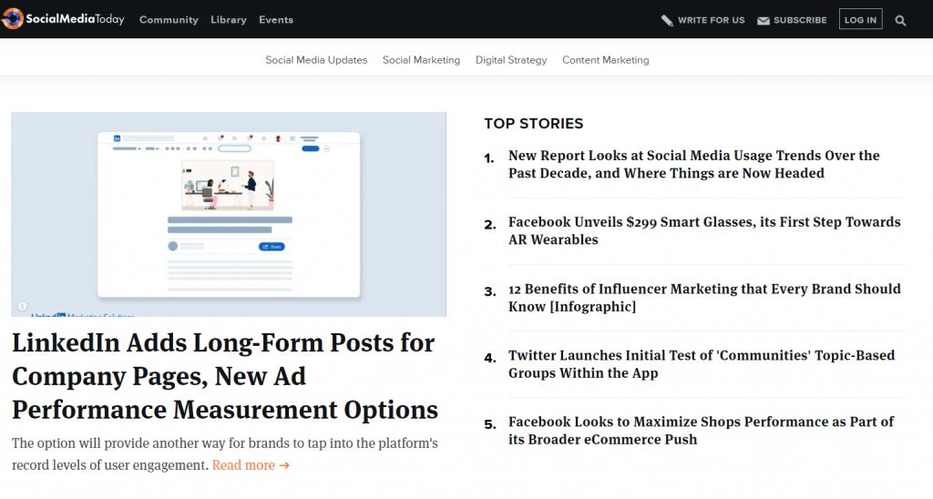 Social Media Today homepage screenshot
