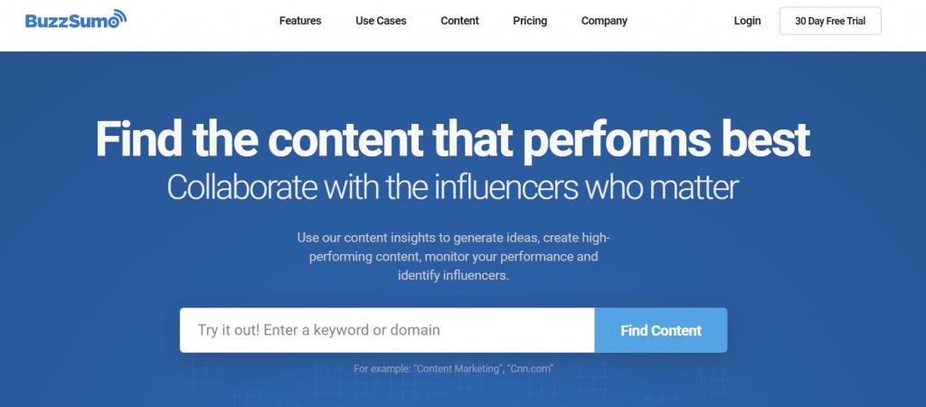 BuzzSumo homepage screenshot
