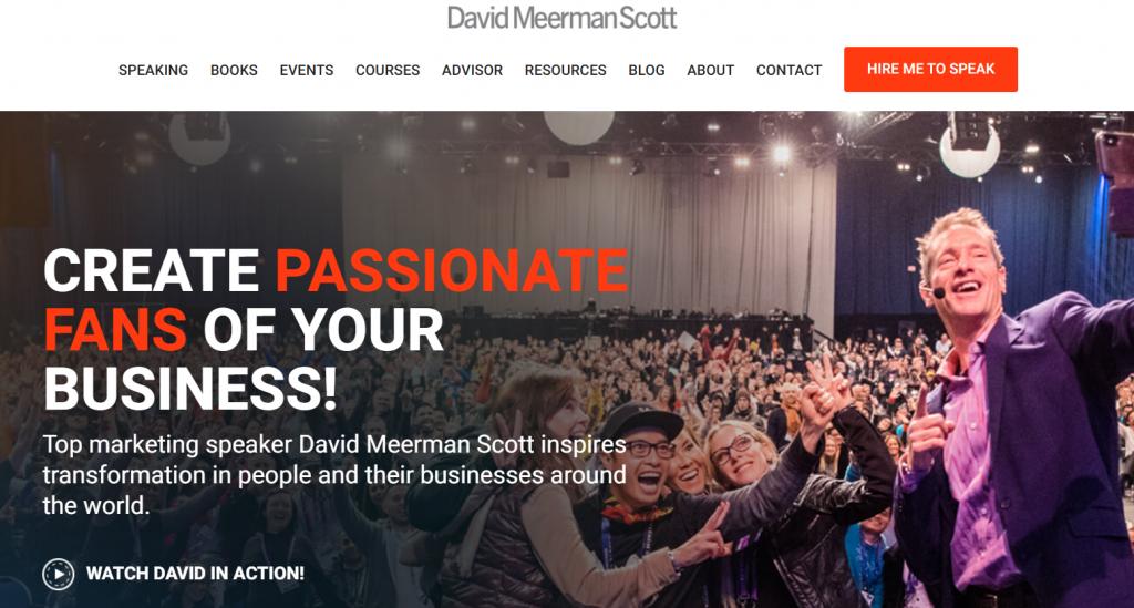 David Meerman Scott blog homepage screenshot