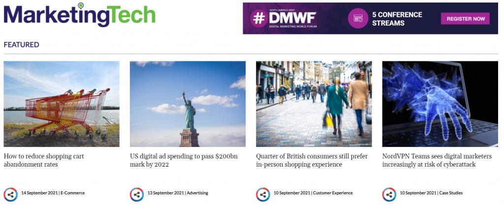 Marketing Tech News homepage screenshot