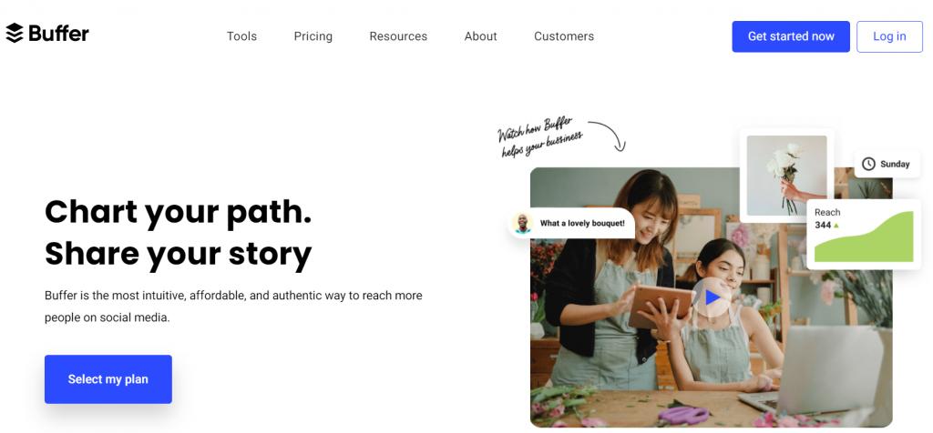 Buffer homepage screenshot