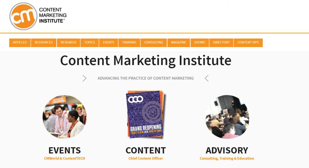 Content Marketing Institute homepage screenshot