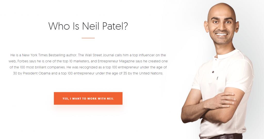 Neil Patel homepage screenshot