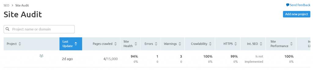 technical seo audit semrush