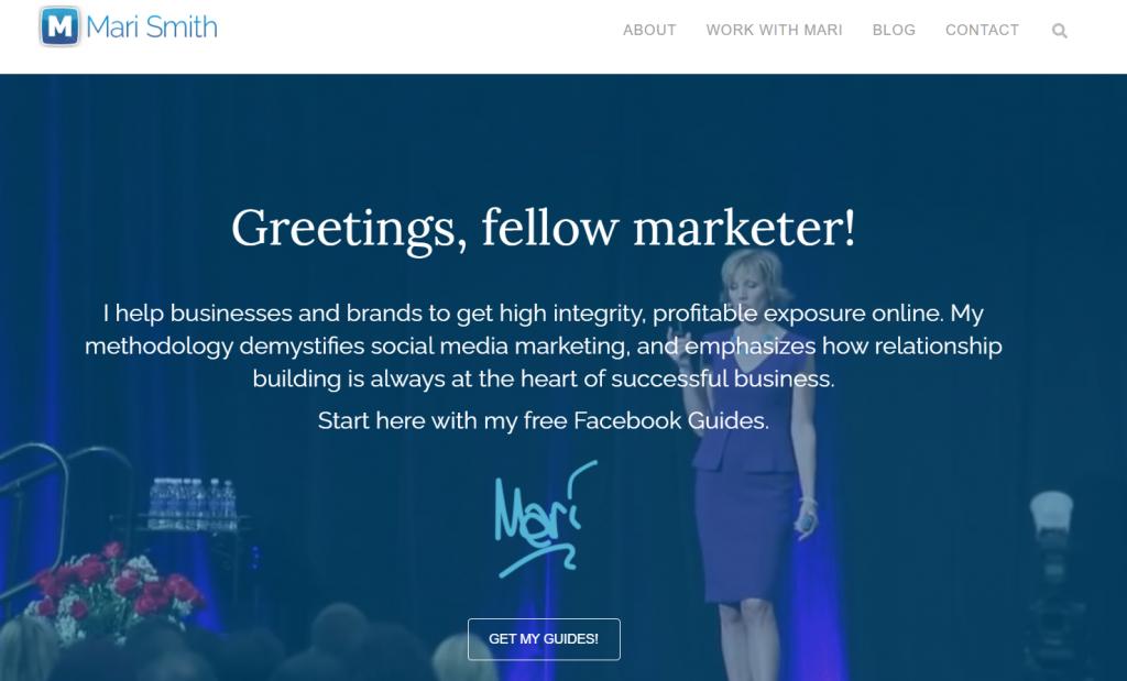 Mari Smigh homepage screenshot