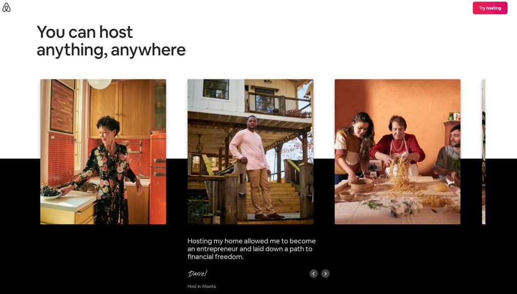 airbnb ugc website