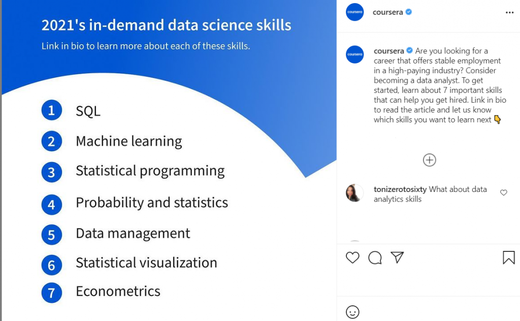 Coursera Instagram promotions