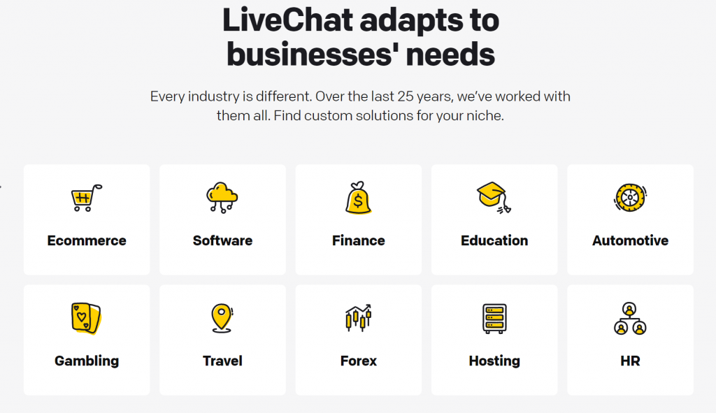 LiveChat services landing page