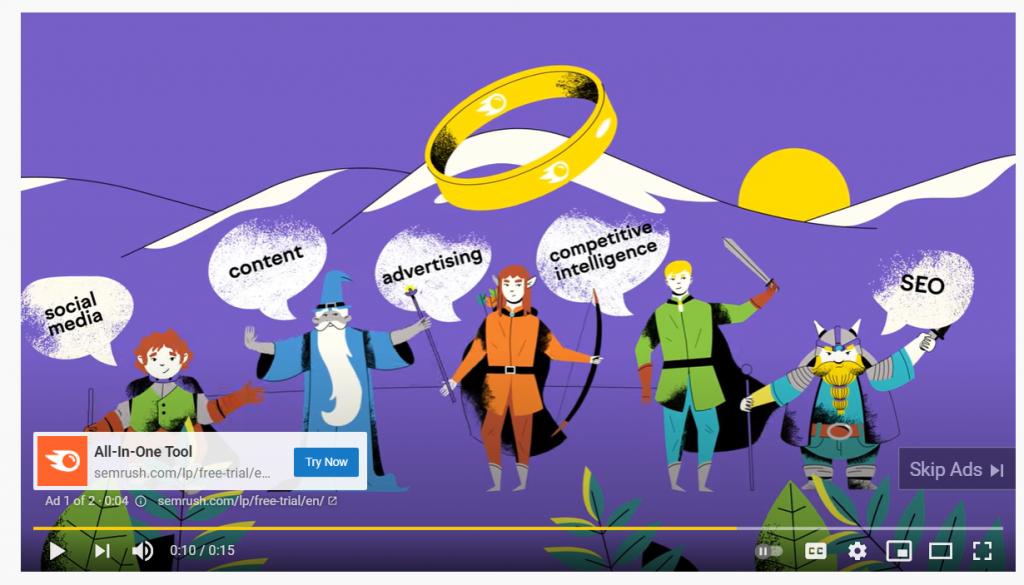SEMrush Youtube ad