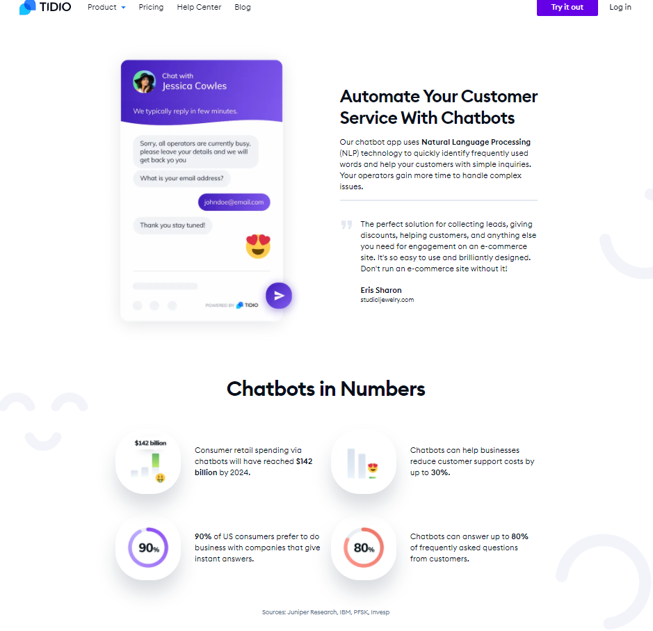 tidio landing page with stats